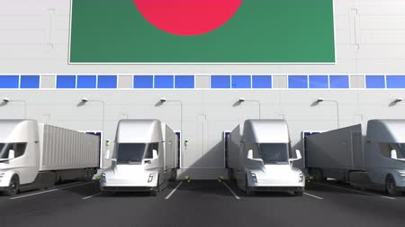 disposição : Trailer trucks at warehouse loading dock with flag of BANGLADESH. Bangladeshi logistics related conceptual 3D animation Stock Footage