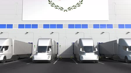 disposição : Trailer trucks at warehouse loading dock with flag of CYPRUS. Cypriot logistics related conceptual 3D animation Stock Footage