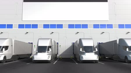 disposição : Electric trucks at warehouse loading bay with flag of ESTONIA. Estonian logistics related conceptual 3D animation