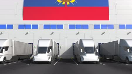 disposição : Semi-trailer trucks at warehouse loading bay with flag of ECUADOR. Ecuadorian logistics related conceptual 3D animation
