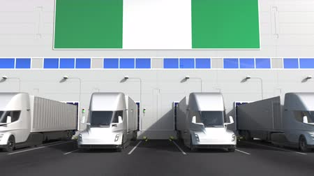 disposição : Trailer trucks at warehouse loading bay with flag of NIGERIA. Nigerian logistics related conceptual 3D animation