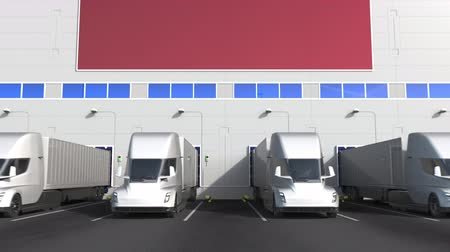 Латвия : Electric semi-trailer trucks at warehouse loading bay with flag of LATVIA. Latvian logistics related conceptual 3D animation Стоковые видеозаписи