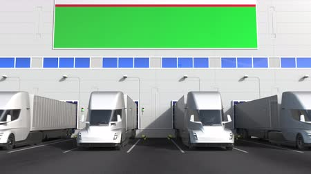 disposição : Trucks at warehouse loading bay with flag of UZBEKISTAN. Uzbek logistics related conceptual 3D animation