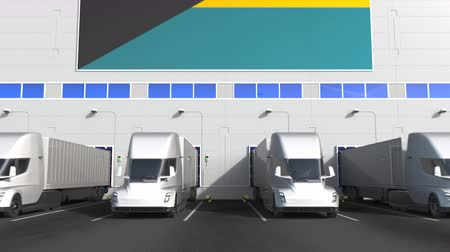 disposição : Electric semi-trailer trucks at warehouse loading dock with flag of THE BAHAMAS. Logistics related conceptual 3D animation