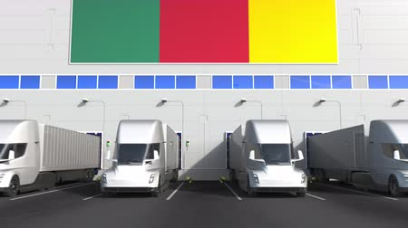 storing : Trailer trucks at warehouse loading dock with flag of CAMEROON. Cameroonian logistics related conceptual 3D animation