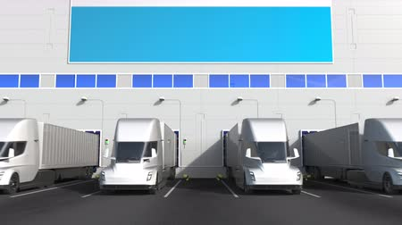 storing : Electric semi-trailer trucks at warehouse loading dock with flag of LUXEMBOURG. Logistics related conceptual 3D animation