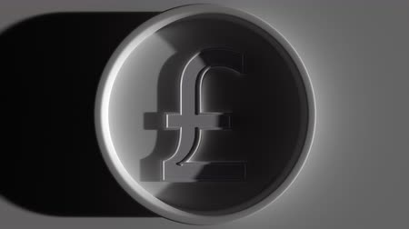 esterlino : Pound sterling symbol in ring, eclipse lighting. Economic report or forex related intro 3D animation