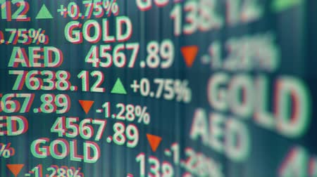 por cento : Fictional stock and gold tickers on the screen, looping 3D animation