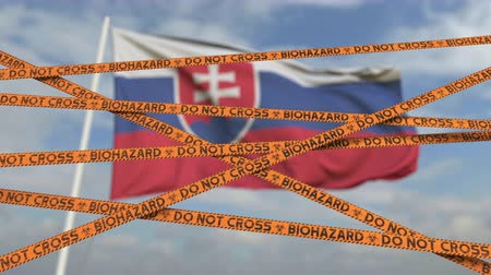 border crossing : Biohazard restriction tape lines against the Slovak flag. Restricted border crossing or quarantine in Slovakia. Conceptual looping 3D animation