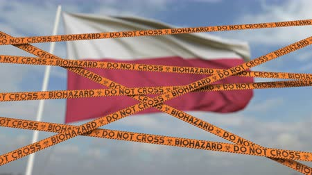 epidemy : Do not cross biohazard tape lines on the Polish flag background. Restricted entry or quarantine in Poland. Conceptual looping 3D animation Stock Footage