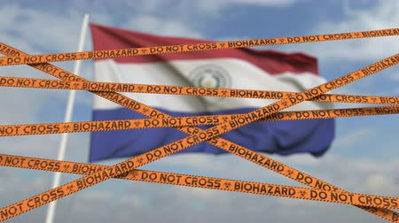 epidemy : Caution biohazard tape with flag of Paraguay as a background. Paraguayan restricted entry or quarantine. Conceptual looping 3D animation