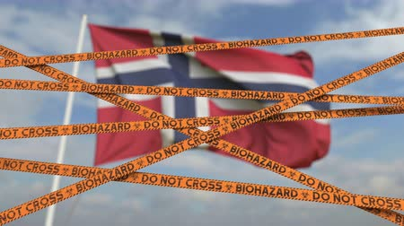 しない : Caution biohazard tape with flag of Norway as a background. Norwegian restricted entry or quarantine. Conceptual looping 3D animation 動画素材