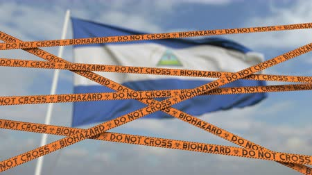 しない : Caution biohazard tape with flag of Nicaragua as a background. Nicaraguan restricted border crossing or quarantine. Conceptual looping 3D animation 動画素材