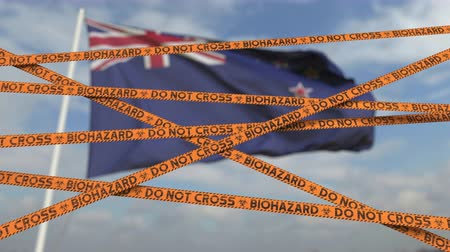 border crossing : Biohazard restriction tape lines against the New Zealand flag. Restricted border crossing or quarantine. Conceptual looping 3D animation