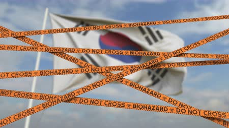 border crossing : Do not cross biohazard tape lines on the Korean flag background. Restricted border crossing or quarantine in South Korea. Conceptual looping 3D animation Stock Footage