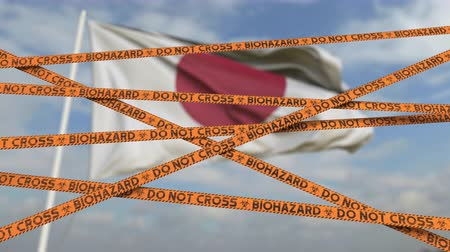 border crossing : Caution biohazard tape with flag of Japan as a background. Japanese restricted border crossing or quarantine. Conceptual looping 3D animation
