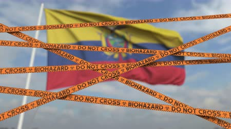 korlátozás : Caution biohazard tape with flag of Ecuador as a background. Ecuadorian restricted entry or quarantine. Conceptual looping 3D animation