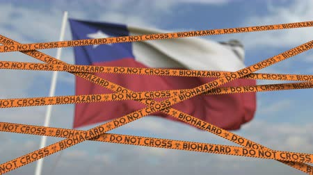 nakažlivý : Caution biohazard tape with flag of Chile as a background. Chilean restricted entry or quarantine. Conceptual looping 3D animation