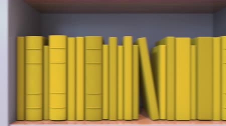 livraria : Books make up the Romanian flag. Literature or science in Romania Stock Footage