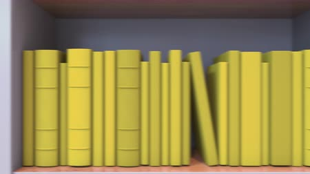 livraria : Spines of books compose flag of Belgium. Belgian Literature, culture or science Stock Footage