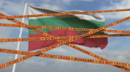 búlgaro : Do not cross biohazard tape lines on the Bulgarian flag background. Restricted entry or quarantine in Bulgaria. Conceptual looping 3D animation