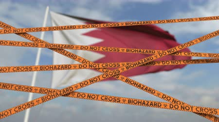 kapalı : Do not cross biohazard tape lines on the Bahraini flag background. Restricted entry or quarantine in Bahrain. Conceptual looping 3D animation