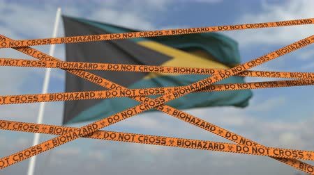 epidemy : Do not cross biohazard tape lines on the Bahamian flag background. Restricted entry or quarantine in the Bahamas. Conceptual looping 3D animation