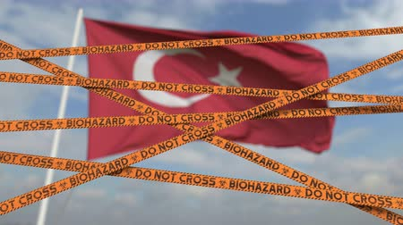 teszi : Do not cross biohazard tape lines on the Turkish flag background. Restricted border crossing or quarantine in Turkey. Conceptual looping 3D animation