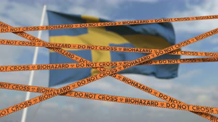 sınırları : Biohazard restriction tape lines against the Swedish flag. Restricted border crossing or quarantine in Sweden. Conceptual looping 3D animation