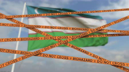 しない : Do not cross biohazard tape lines on the Uzbek flag background. Restricted entry or quarantine in Uzbekistan. Conceptual looping 3D animation