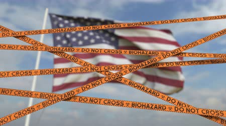 bandeira americana : Biohazard restriction tape lines against the American flag. Restricted entry or quarantine in the USA. Conceptual looping 3D animation