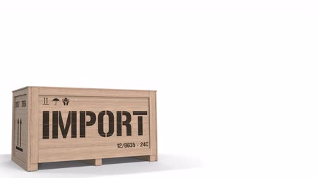 届ける : Wooden crate with printed IMPORT text on white background. 3D animation
