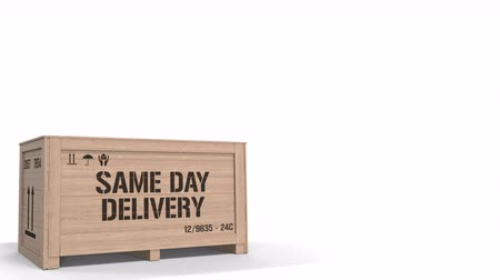 same : Wooden crate with printed SAME DAY DELIVERY text on white background. Industrial production related 3D animation Stock Footage