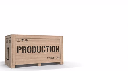 szállító : Wooden crate with PRODUCTION text on white background. 3D animation