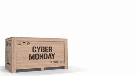 segunda feira : Crate with CYBER MONDAY text on white background. 3D animation