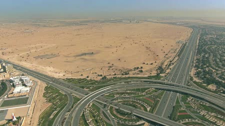 rampa : Aerial view of a big highway interchange and desert near Dubai, UAE