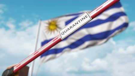 barriers : Closing boom barrier with QUARANTINE sign against the Uruguayan flag. Border closure or infection related isolation in Uruguay Stock Footage