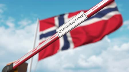 barrier gate : Barrier gate with QUARANTINE sign being closed with flag of Norway as a background. Norwegian Border closure or infection related isolation