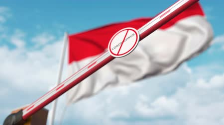 щит : Closed boom gate with STOP CORONAVIRUS sign on the Indonesian flag background. Quarantine in Indonesia