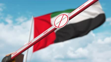 epidemy : Closing boom barrier with STOP CORONAVIRUS sign against the UAE flag. Quarantine in the United Arab Emirates Stock Footage