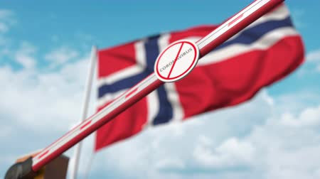 вред : Barrier gate with STOP CORONAVIRUS sign being closed with flag of Norway as a background. Norwegian quarantine Стоковые видеозаписи