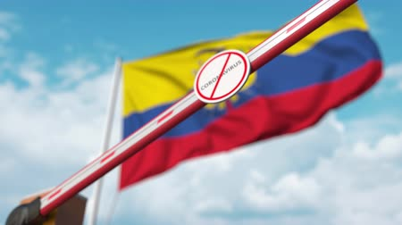 zákaz : Barrier gate with STOP CORONAVIRUS sign being closed with flag of Ecuador as a background. Ecuadorian quarantine