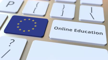 empregos : Online Education text and flag of the European Union on the buttons on the computer keyboard. Modern professional training related conceptual 3D animation