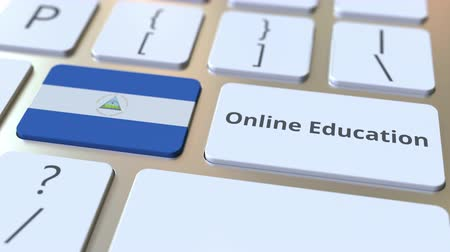 estrangeiro : Online Education text and flag of Nicaragua on the buttons on the computer keyboard. Modern professional training related conceptual 3D animation