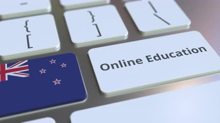 nowa zelandia : Online Education text and flag of New Zealand on the buttons on the computer keyboard. Modern professional training related conceptual 3D animation