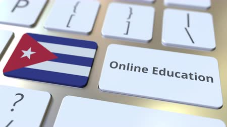 empregos : Online Education text and flag of Cuba on the buttons on the computer keyboard. Modern professional training related conceptual 3D animation