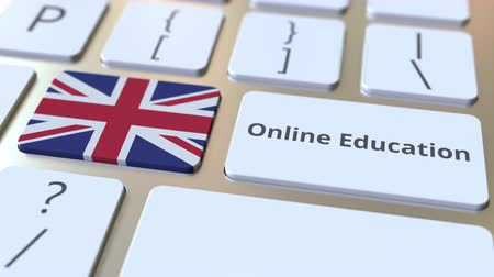 empregos : Online Education text and flag of Great Britain on the buttons on the computer keyboard. Modern professional training related conceptual 3D animation