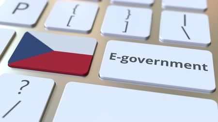 involvement : E-government or Electronic Government text and flag of the Czech Republic on the keyboard. Modern public services related conceptual 3D animation