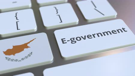involvement : E-government or Electronic Government text and flag of Cyprus on the keyboard. Modern public services related conceptual 3D animation