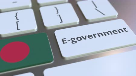 involvement : E-government or Electronic Government text and flag of Bangladesh on the keyboard. Modern public services related conceptual 3D animation